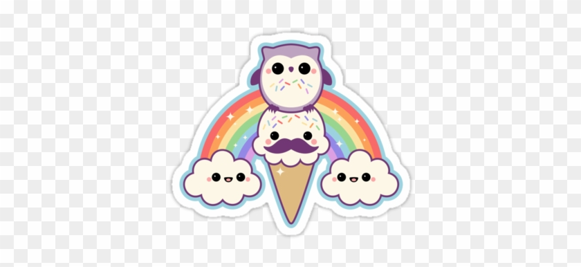 Super Cute Stickers With Mustache Ice Cream Cone, Happy - Cute Kawaii Owl #810165