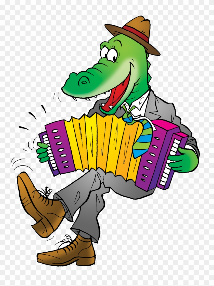 Alligator Crocodile Cartoon Cajun Accordion - Funny Crocodile #812135