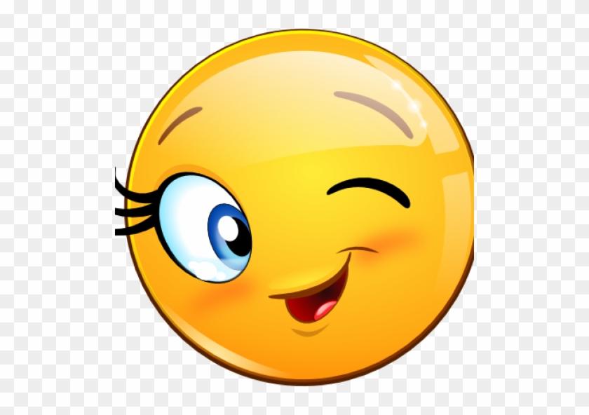 Smiley Wink Emoticon Flirting Clip Art - Cute Emoji Happy Face #814051