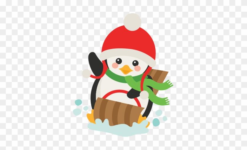 Sledding Penguin Svg Scrapbook Cut File Cute Clipart - Penguin Sledding Clipart #147072