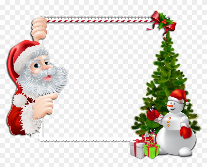Large Christmas Png Frame With Santa And Snowman - Clipart Rahmen ...