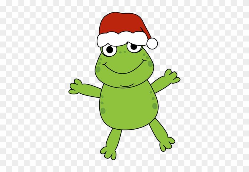 Frog Christmas Clip Art - Frog With Christmas Hat #147356