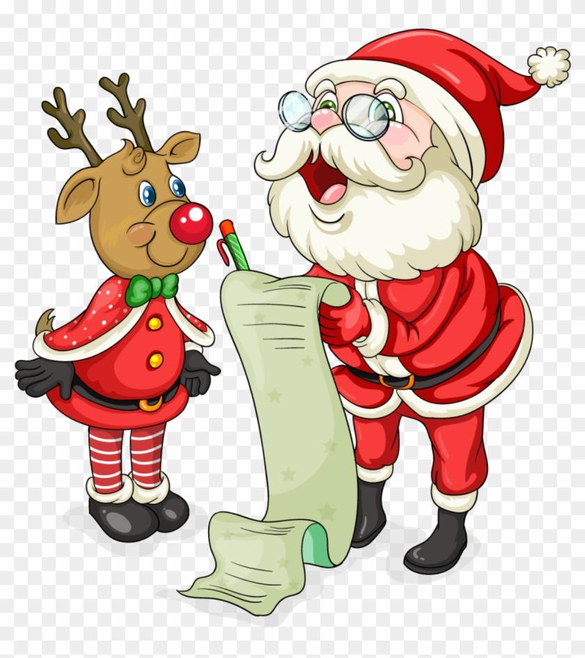 Cute Santa Christmas Clipart Santa, Christmas - Weihnachtenflashcard Mit Sankt Und Verzierungen Sandstein #147468
