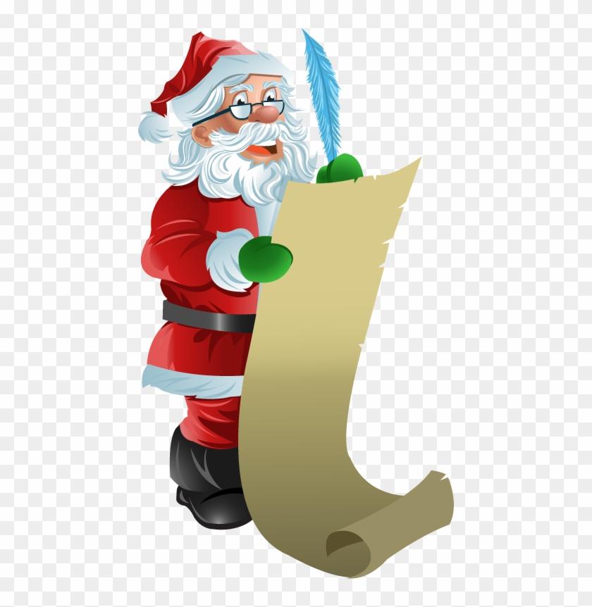 Santa Checking His List Clipart - Santa Checking List Clipart #147499
