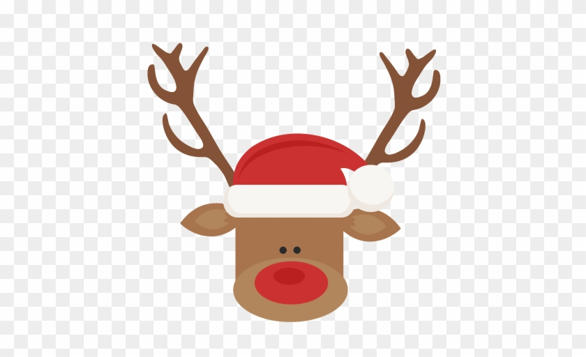 Reindeer With Santa Hat Svg Cutting Files For Scrapbooking - Reindeer With Santa Hat #147501