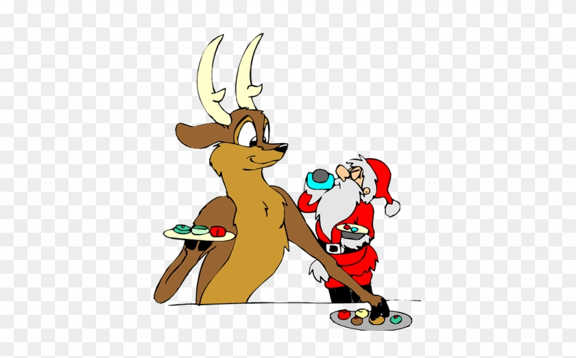 Santa Christmas With Reindeer Free Public Domain Clip - Christmas Pictures Clip Art #147515