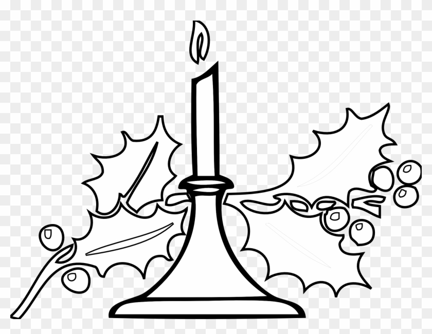 Christmas Candle Black White Line Art Xmas Holiday - Black And White Holiday #147641