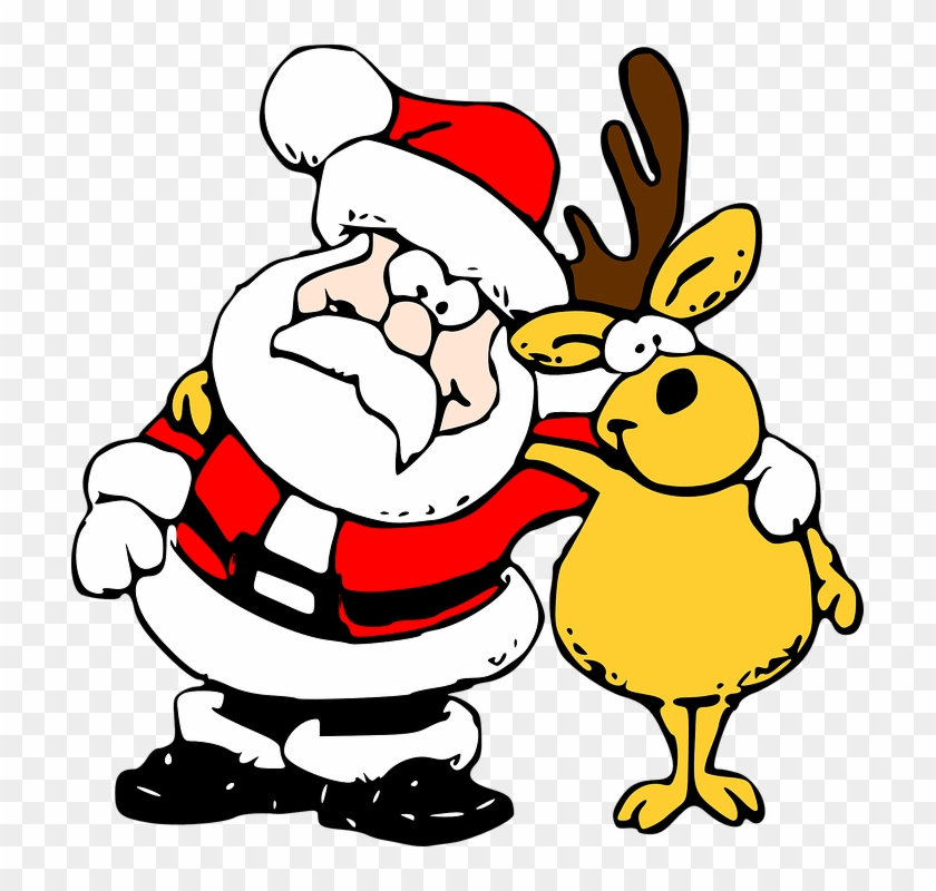 Cartoon Santa And Reindeer #148063