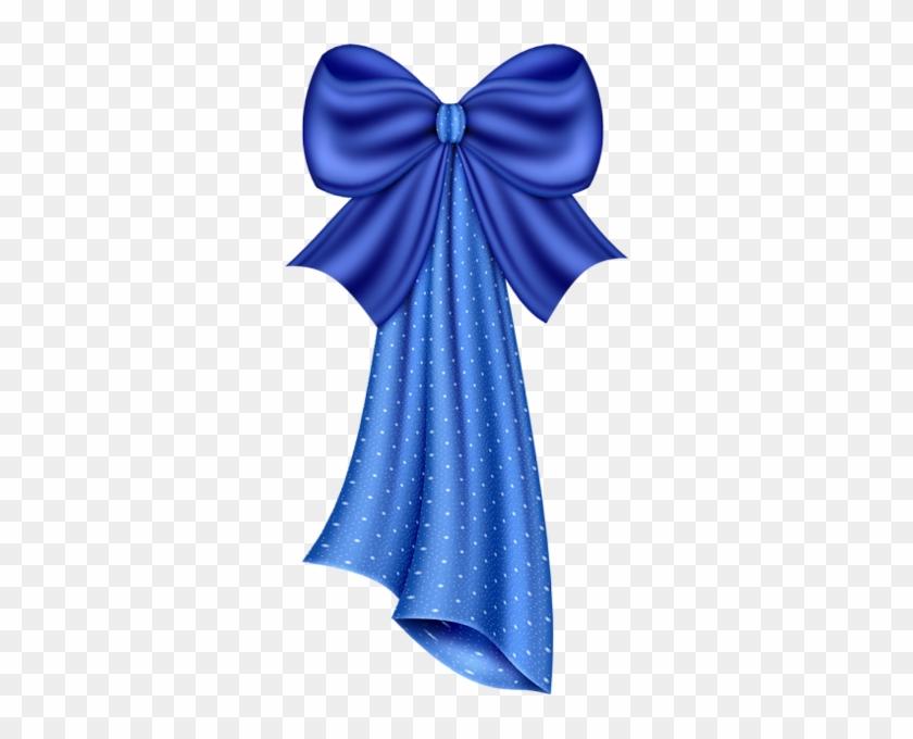 Large Blue Dotty Bow Clipart - Border Frame Ribbon #148270