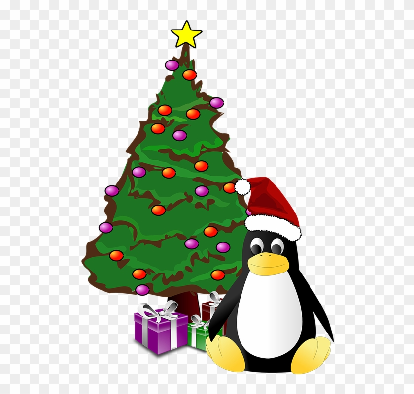Penguin And Christmas Tree Ornament (round) #148604