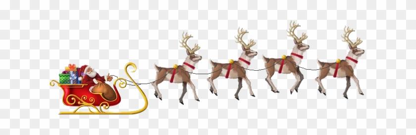 Flying Santa - Santa And Reindeer Flying Png #149077