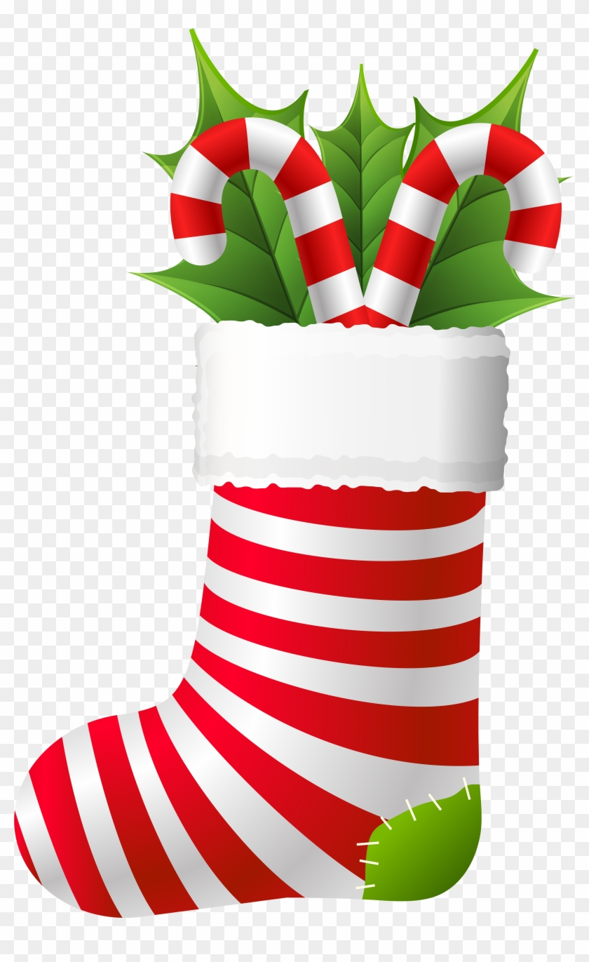 Christmas Stocking With Candy Canes Png Clip Artu200b - Christmas Stockings Clipart Png #149595