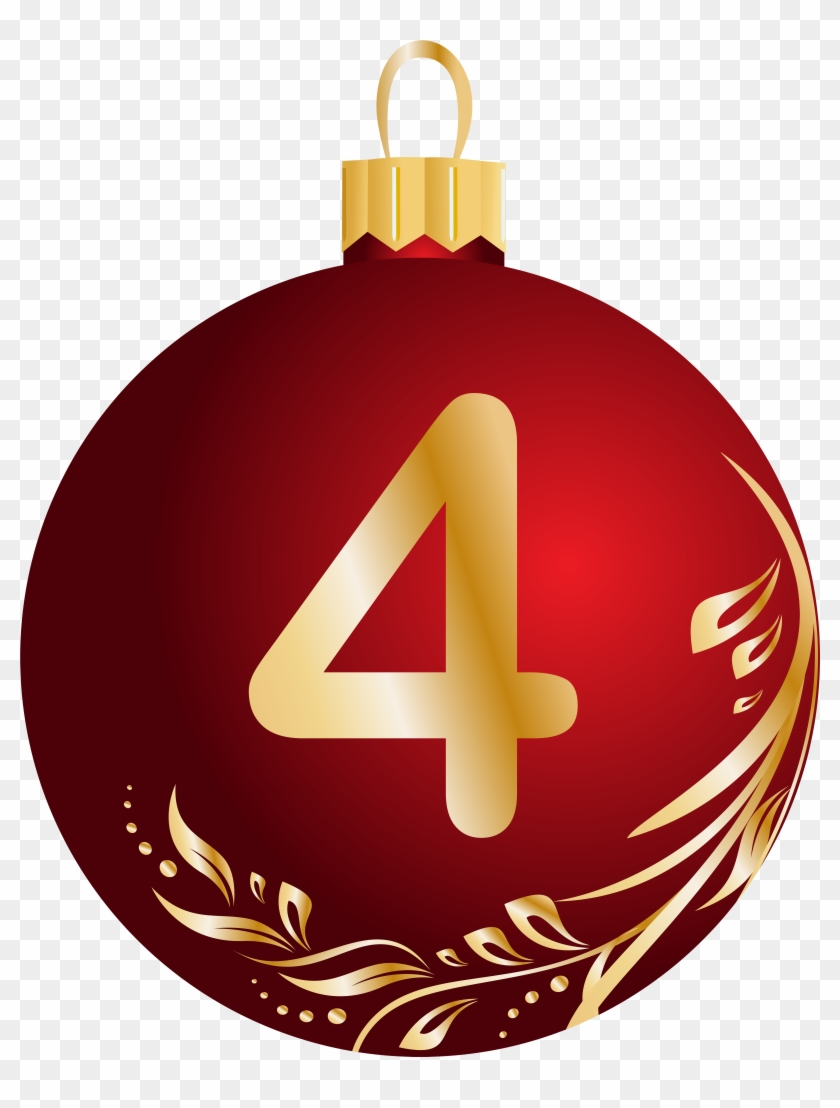 Christmas Ball Number Four Transparent Png Clip Art - Christmas Number 4 Transparent #149606