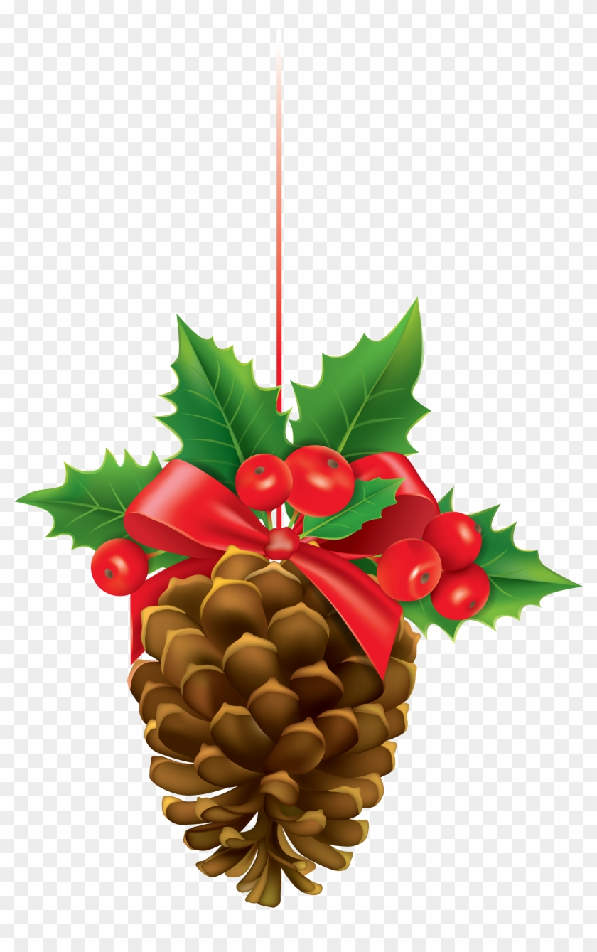 Christmas Pinecone With Mistletoe Clipart Image - Christmas Pine Cone Clipart #149700