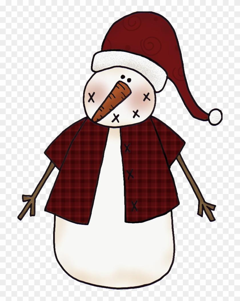 Primitive Clip Art - Primitive Snowman Clip Art #149802
