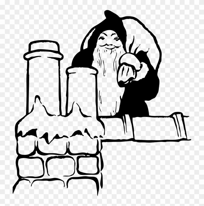Free Santa On The Rooftop - Drawing #149806
