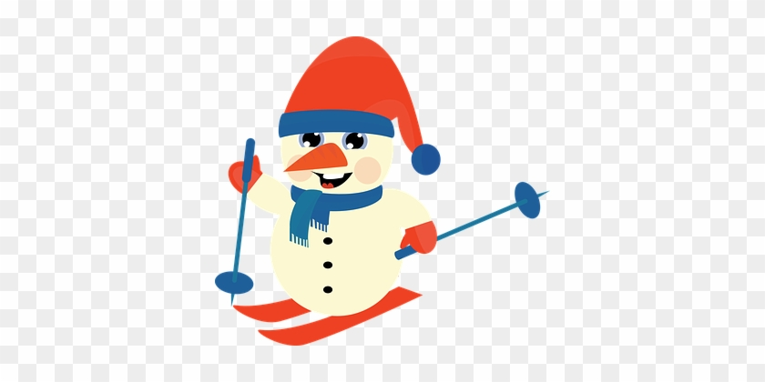Snowman Winter Christmas Ski Downhill Snow - Skiing Clipart Png #150003