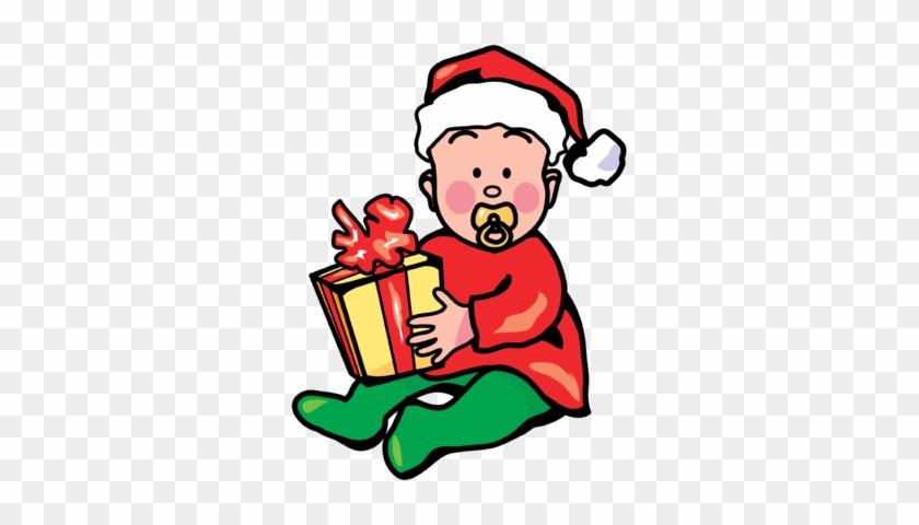 Christmas Baby With Gift Image - Baby Christmas Clip Art #150197
