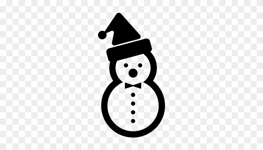 Snowman Of Two Balls Of Snow With A Christmas Bonnet - Snowman Png Black And White #151298