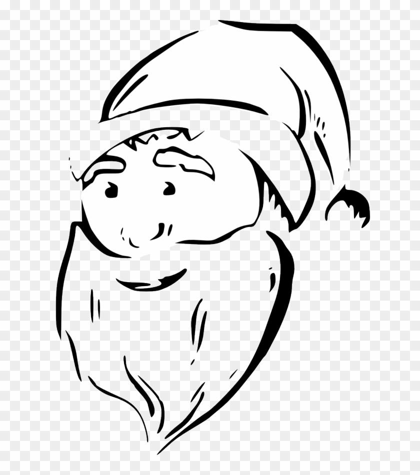 Zeimusu Santa Face Black White Line Art Tattoo Tatoo - Christmas Thatoo Santa Png #151517