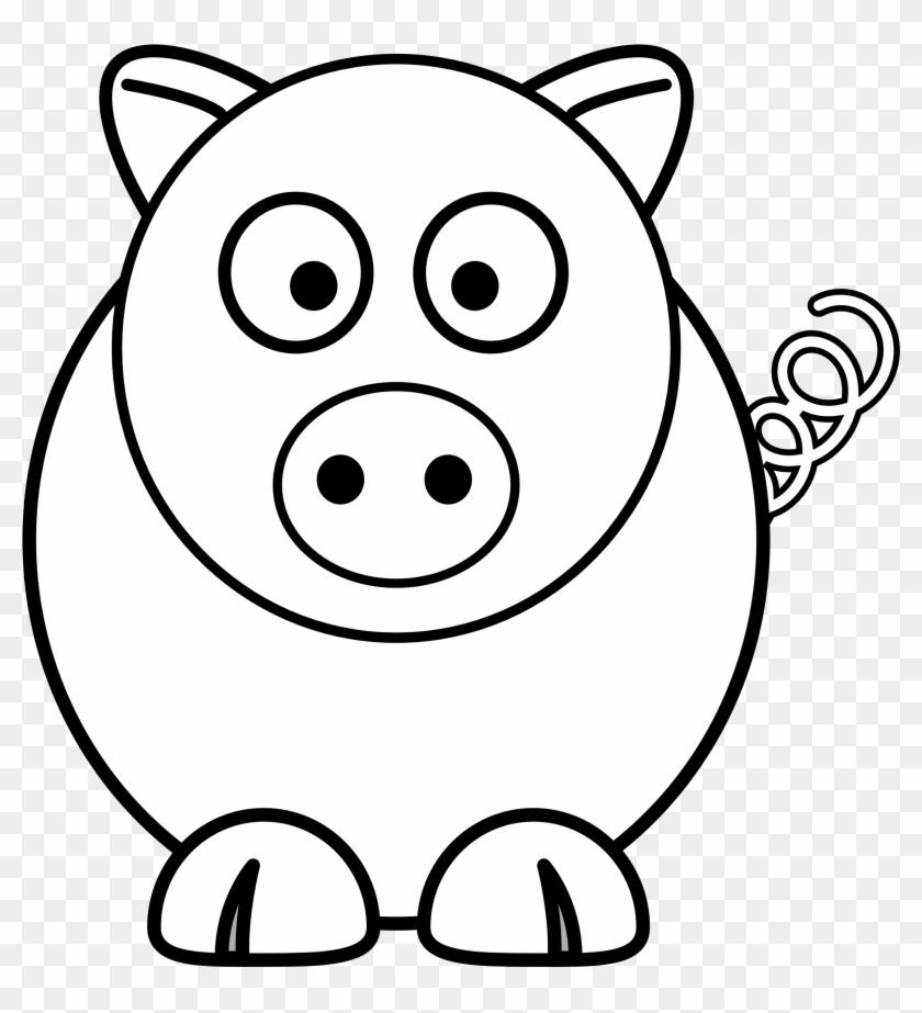 Pig Round Black White Line Art Christmas Xmas Stuffed - Edmond Memorial High School #151564