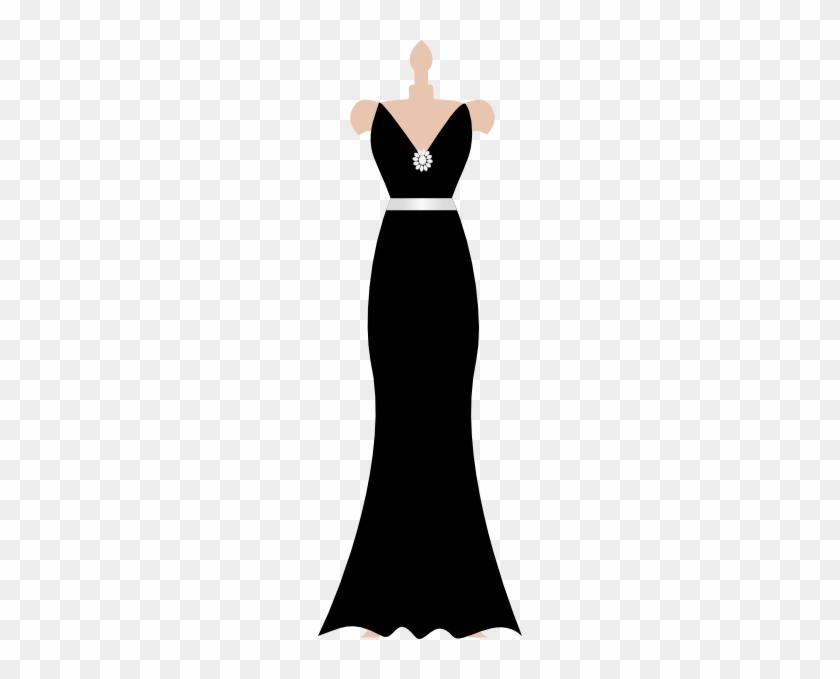 Black Dress On Stand Clip Art - Black Dress Silhouette Clip Art #153277
