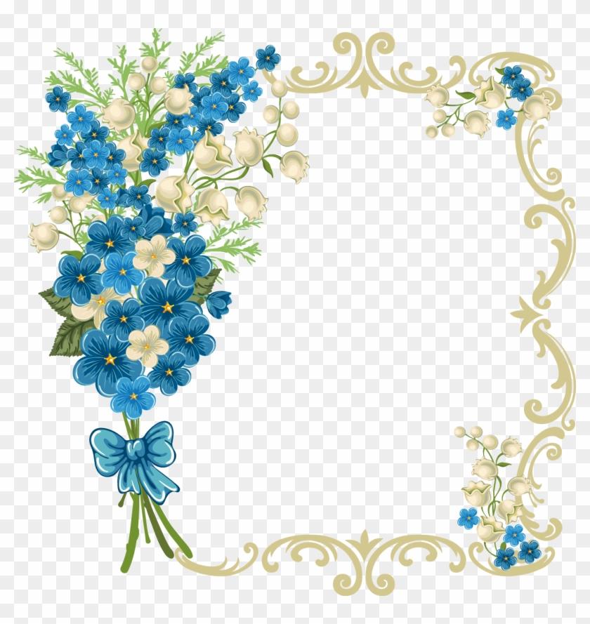 Flower - Google'da Ara - Blue Floral Frame Png #155084