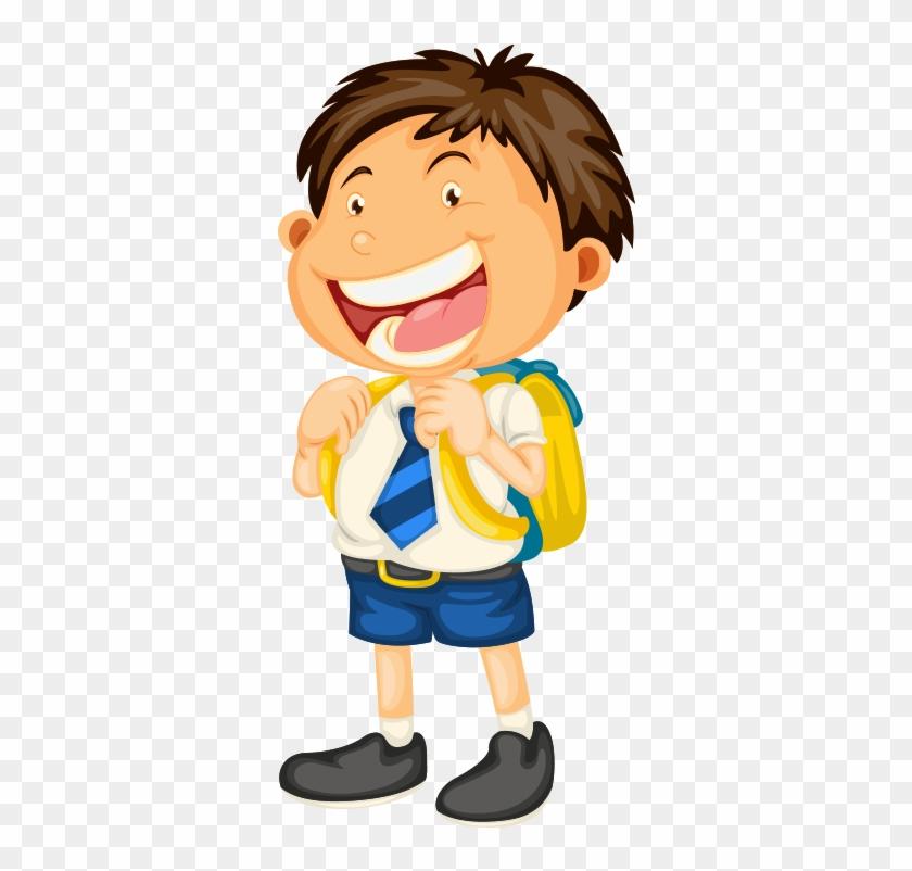 Student School Uniform Clip Art - Boy Going To School Cartoon #816305