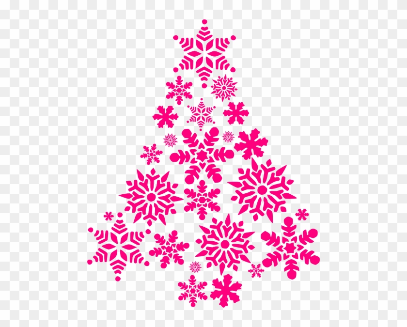 pink snowflake tree clip art at clker pink christmas tree png
