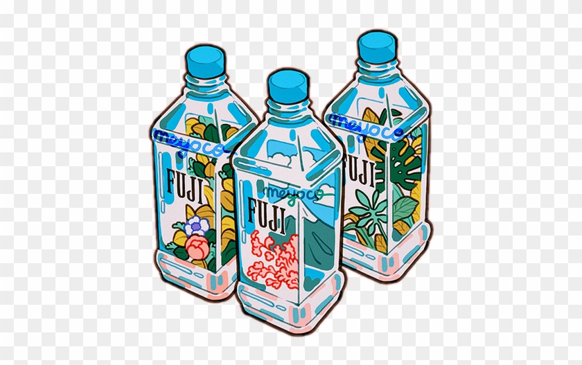 Aesthetic Bottles Water Fuji Aes Tumblr Anime Retro Meyoco Water Free Transparent Png Clipart Images Download