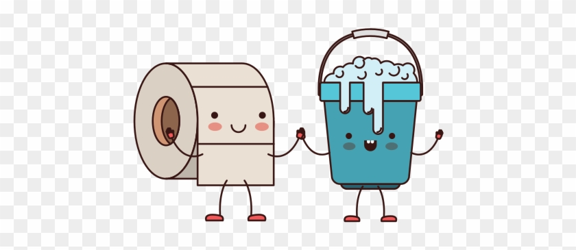 Kawaii Cartoon Toilet Paper Roll And Bucket With Soapy - Mop And Bucket Cartoon #817572