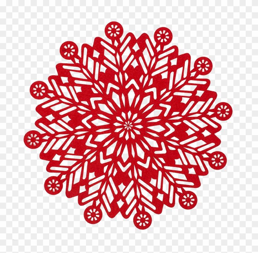 2016 Felt Design Snowflake Round Felt Christmas Placemat - Felt #817644