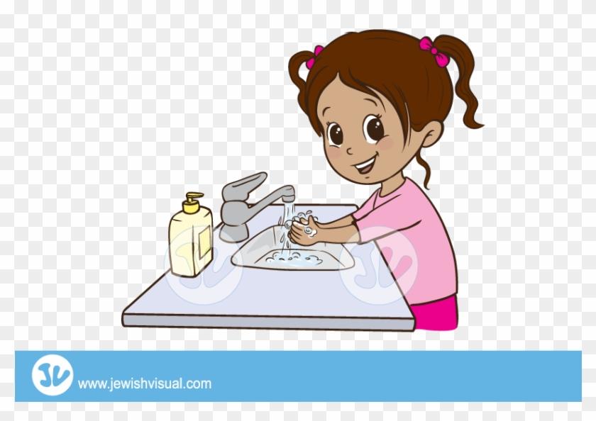 Girl Washing Hands Clipart - Girl Washing Hands Clipart #819320