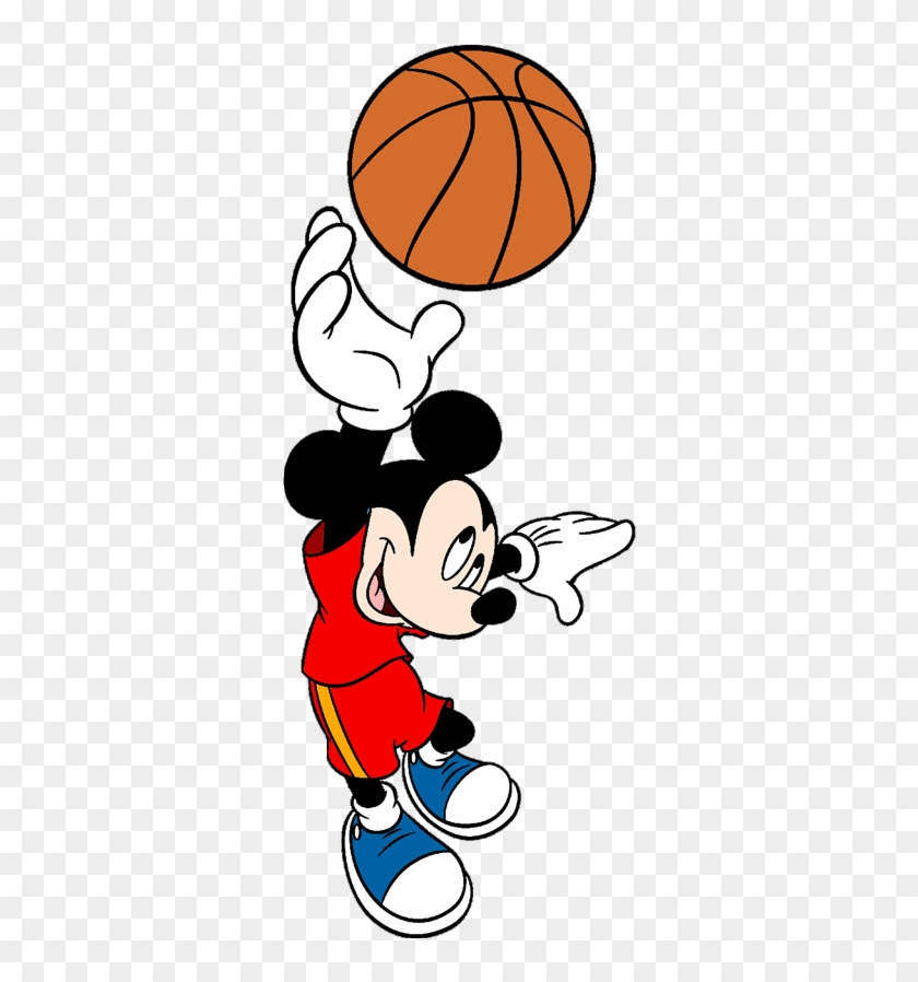 Mickey Mouse Playing Basketball Clipart