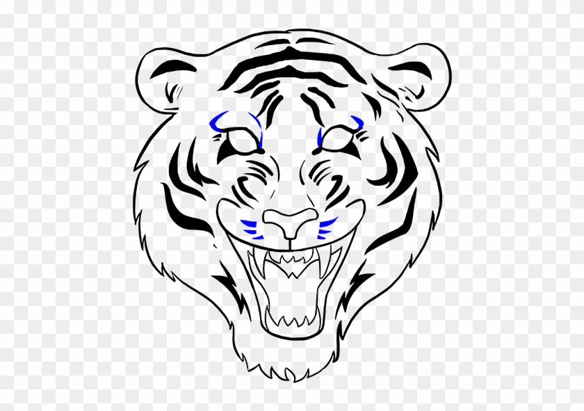Drawn White Tiger Mouth Open Drawing - Draw A Tiger Face #822537