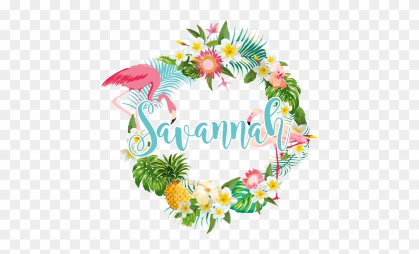 Flower Wreath Name Decals - Retro Flamingos & Tropical Plants Pillow Case #822633