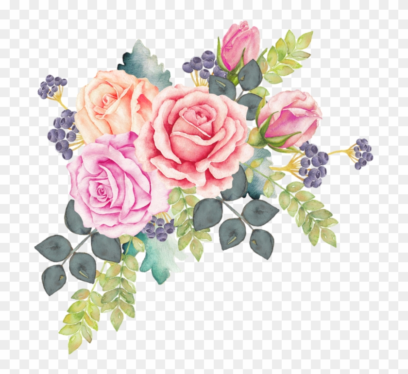 Watercolour Flowers Watercolor Painting Rose Clip Art - Watercolor Flower Wreath Png #822665