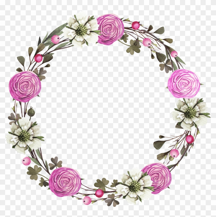 Floral Design Wreath Rose Clip Art - Frame Rose Purple #822678