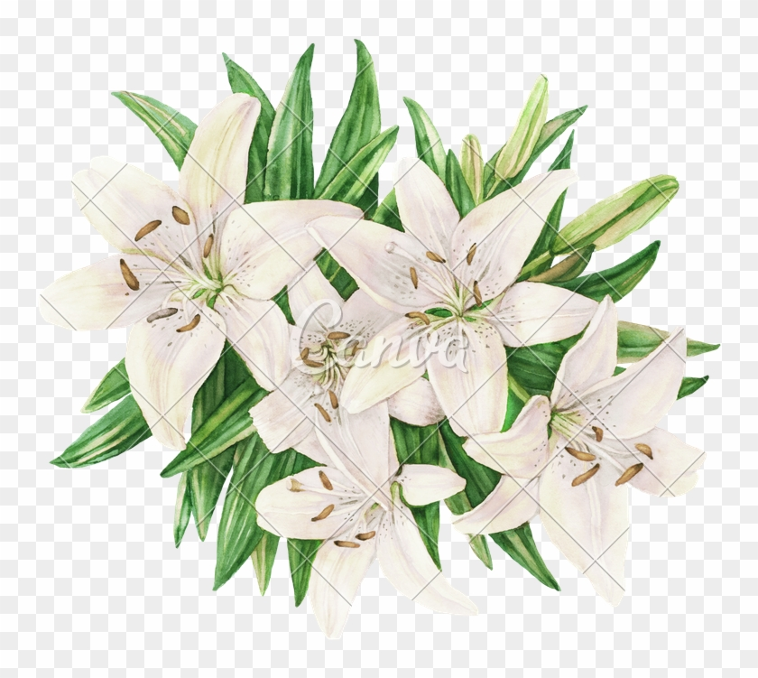 Flower Bouquet With Lily Composition For Wedding Invitation - Flower Bouquet #824079