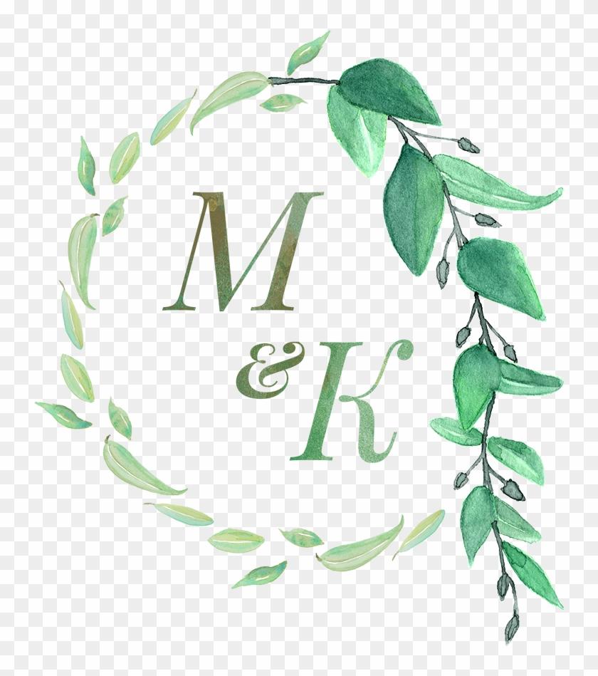 Wedding Monogram Grun Verlasst Hochzeits Einladung Karte Free