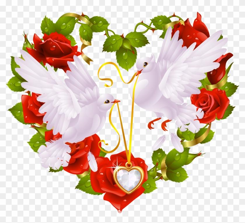 Columbidae Bird Heart Clip Art - Love Birds Images For Facebook #824947