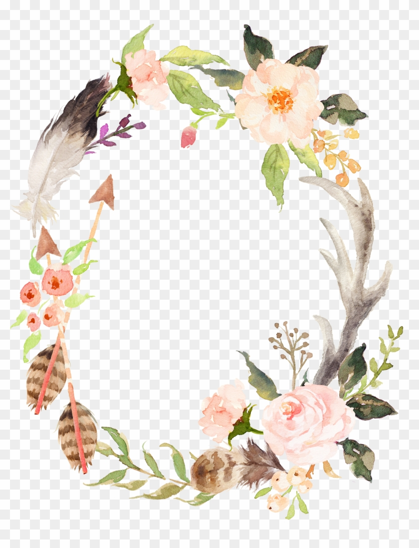 Wedding Invitation Wreath Watercolor Painting Poster - Woodland Baby Shower Decorations For Girl #825342