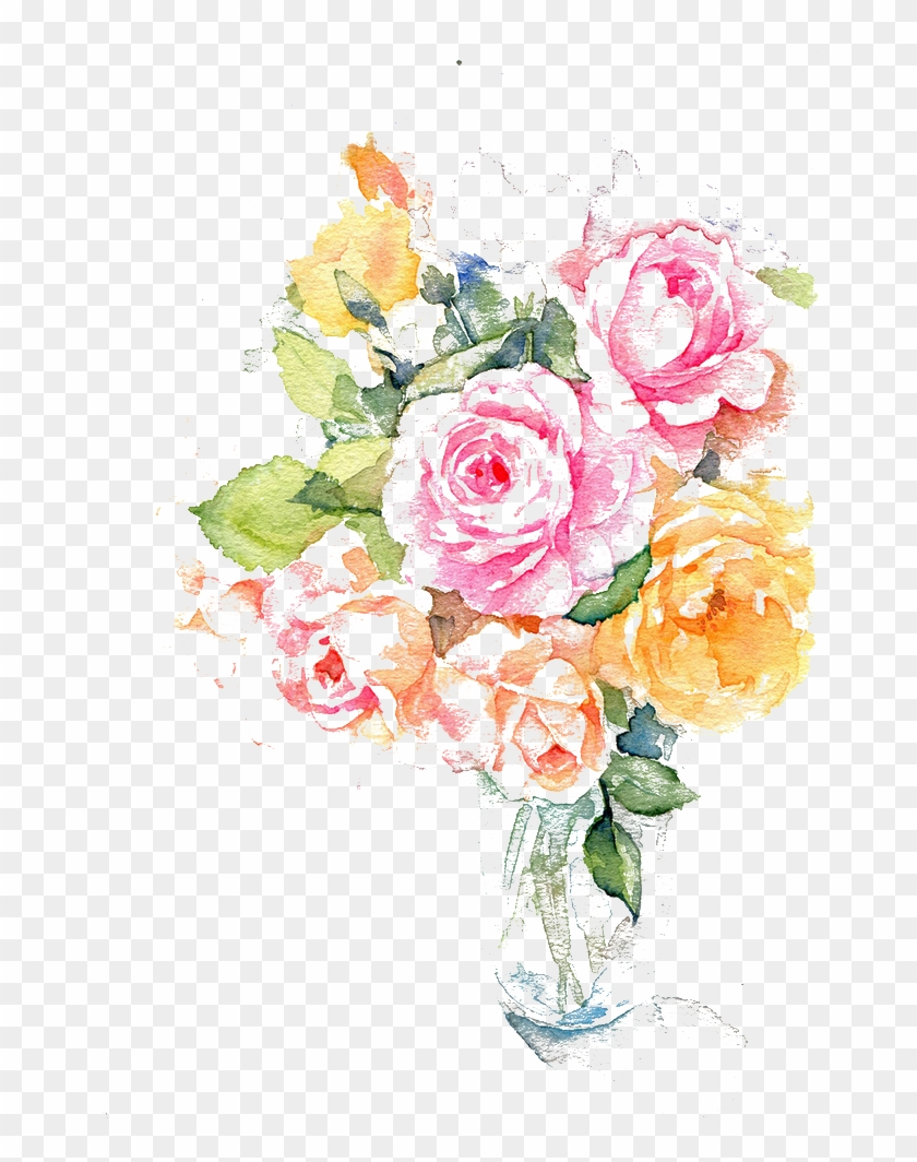 Flower Ink Watercolor Painting - Water Paint Flower Png #825598