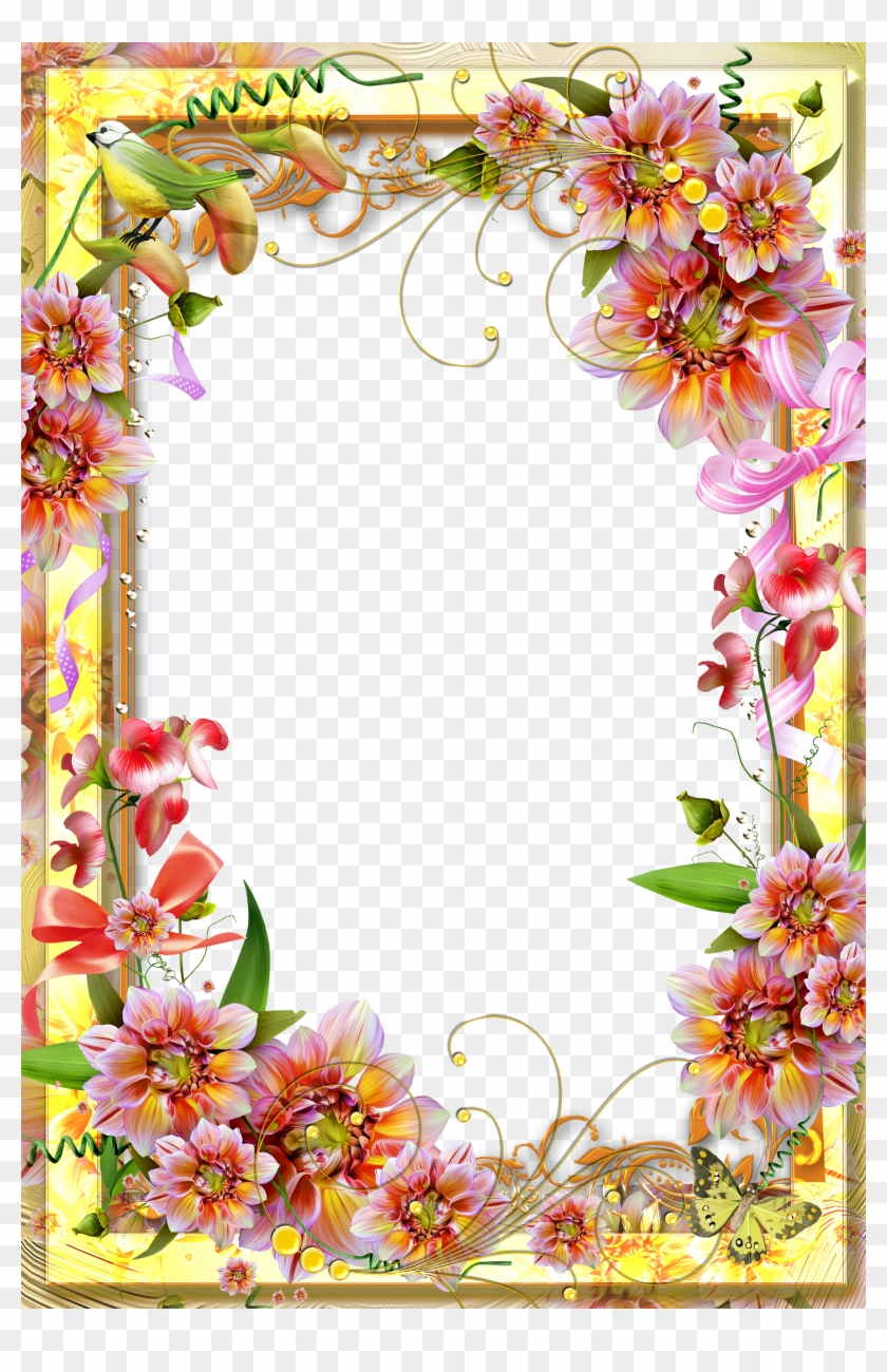 Yellow Transparent Frame - Page Borders Flower Design - Free ...