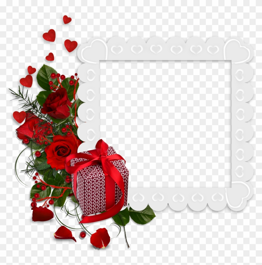 Beautiful White Transparent Frame With Hearts And Red - Red Roses ...