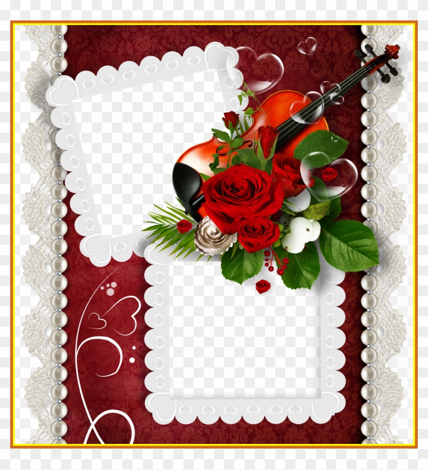 Marvelous Romantic Double Transparent Png Frame With - Double Photo Frame Download #827693