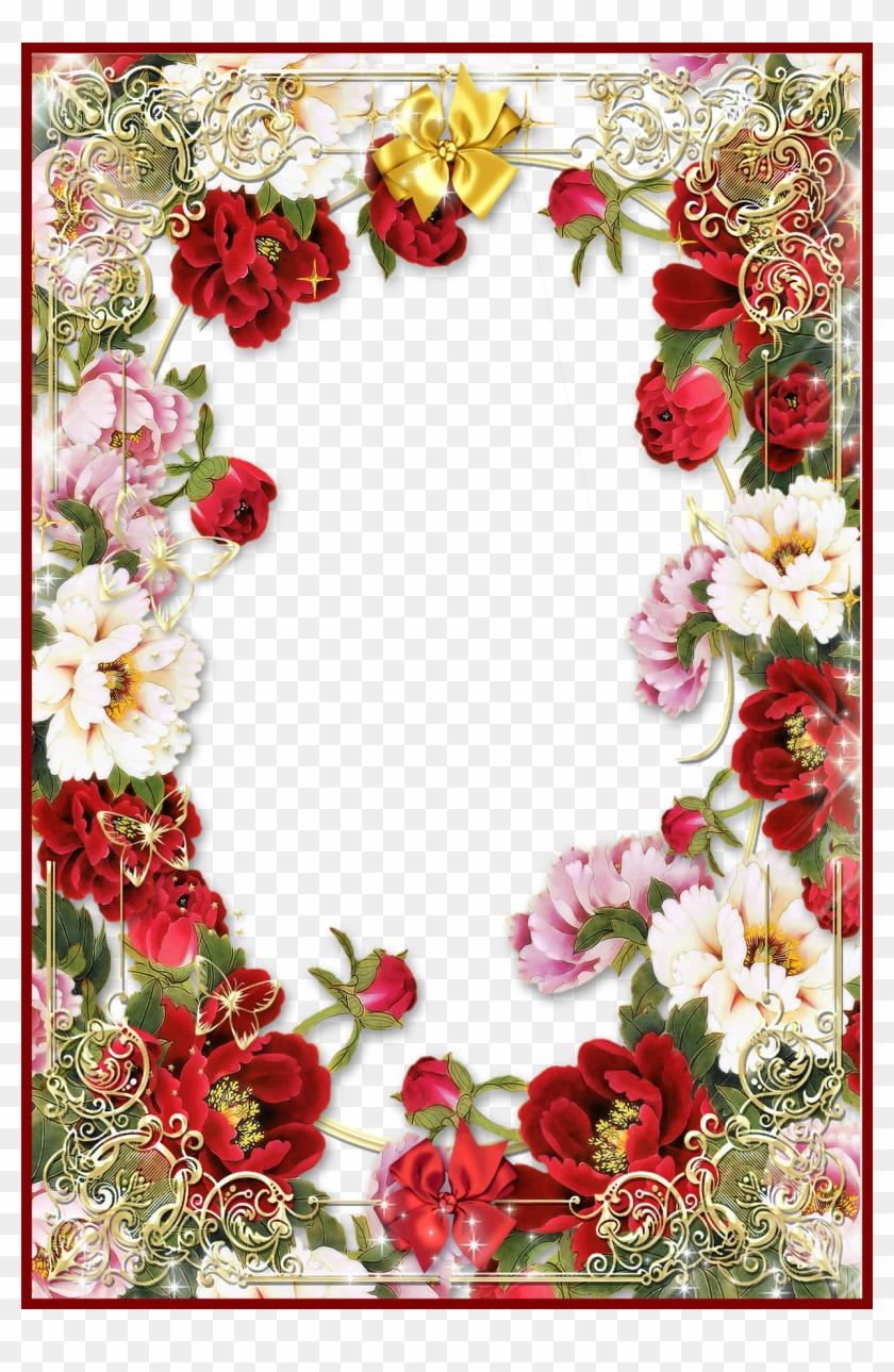 Rose Flower Rose Flower Frames Design Png Incredible - Flowers Frame Borders Png #827716