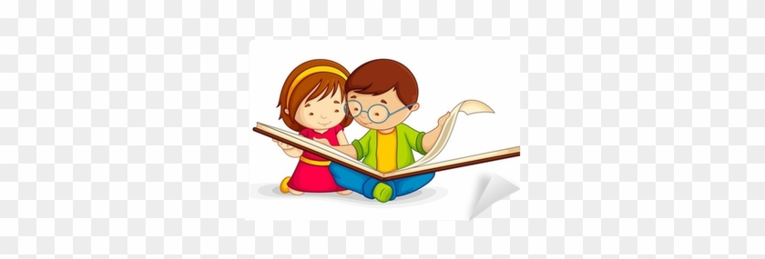 Vector Illustration Of Kid Reading Open Book Sitting - Child Reading Clip Art #829527
