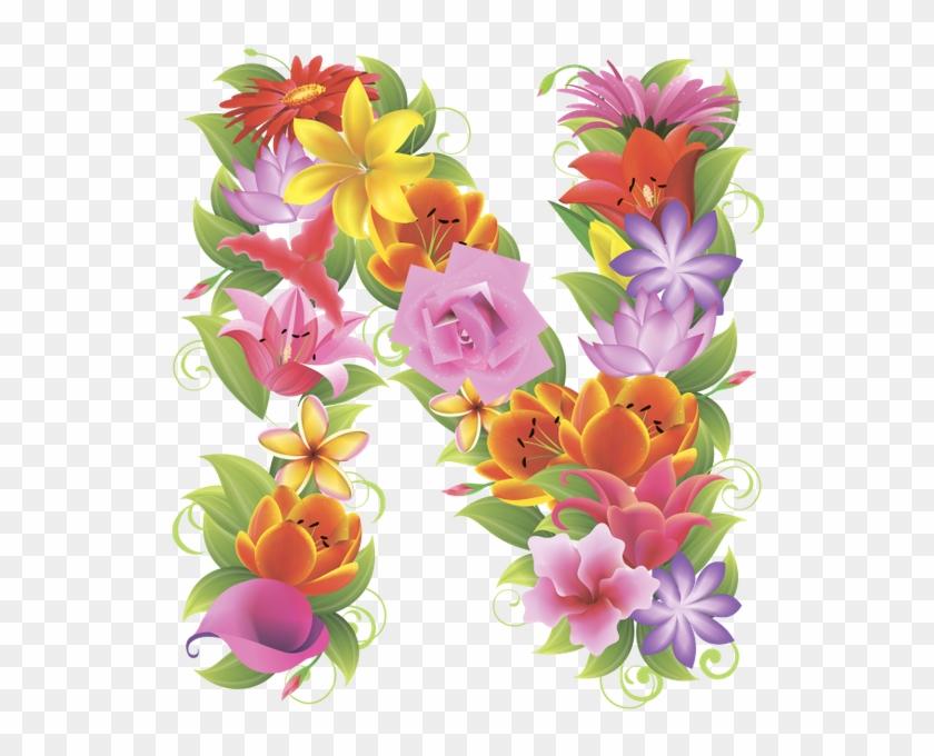 Английский Алфавит, Буква N, Цветочный Алфавит, Цветы, - Буква Н Из Цветов #830487