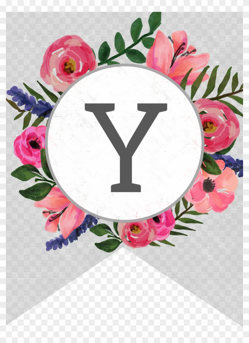 photograph about Printable Banner Letters titled Flower Banner Alphabet Letters Free of charge Printable Y - Flower